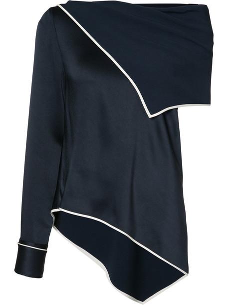 blouse asymmetrical women blue top