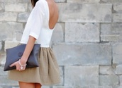 floaty,white dress,beige dress,low back,dress,bag