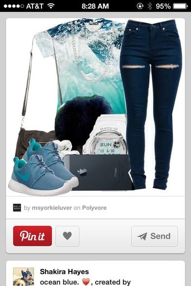 t-shirt jeans blue shirt wave ocean shirt