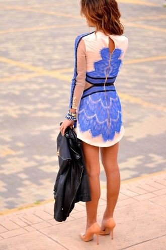 dress pink blue lace short dress bodycon dress