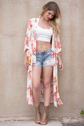 kimono,floral,coachella,festival,shorts,high heels,outfit,summer,spring break,spring,spring outfits,summer outfits,crop tops,style,trendy,cute,serena,jewelry,bohemian,boho,indie,shoes,floral kimono