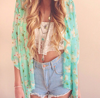 denim shorts lace crop top crop tops kimono floral kimono boho high waisted shorts summer outfits coachella jacket top clothes shirt cardigan floral oversized cardigan komono curly hair hippie boho shirt blouse jewels shorts coat