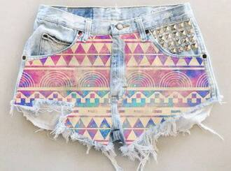 shorts pink spike spiked spiked short spiked shorts jeans girl tumblr tumblr girl tumblr clothes tumblr shorts