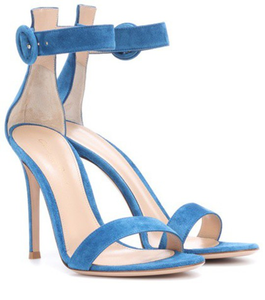Gianvito Rossi sandals suede blue shoes