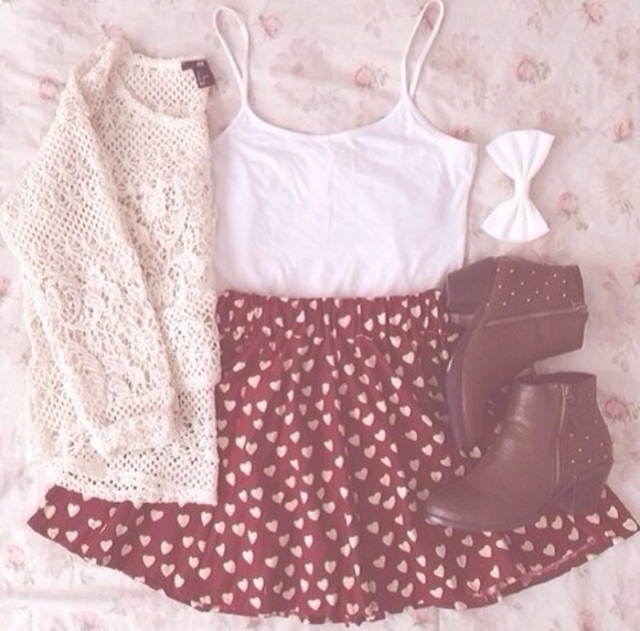 hearts skirt heart shoes girly girl skirt with hearts stylish outfit summer summer outfit