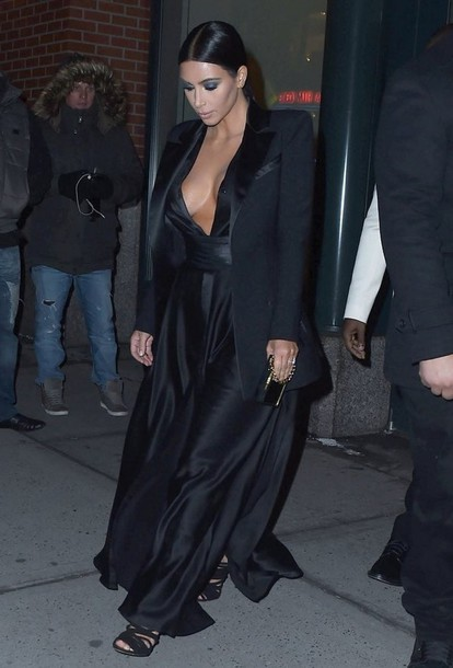 sandals blazer kim kardashian black dress black dress evening dress celebrity black blazer
