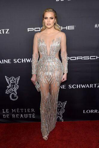 dress gown khloe kardashian see through see through dress kardashians silver wedding dress prom dress shoes