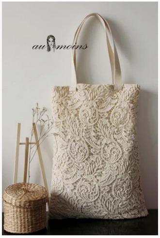 bag love lace tote bag elegant white beige