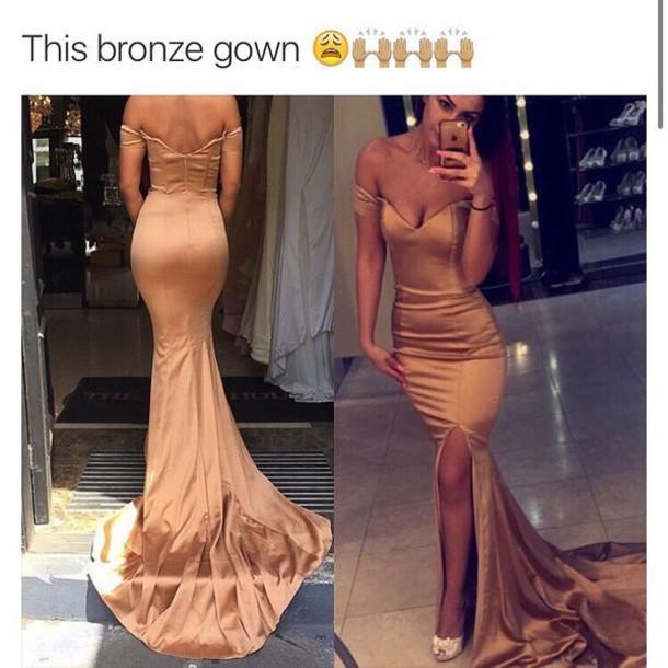 Dress Gown Satin Velvet Train Gold Off The Shoulder Prom