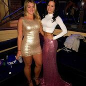 dress,dream closet couture,glitter,sparkly dress,glitter dress,gold dress,party dress,pink skirt