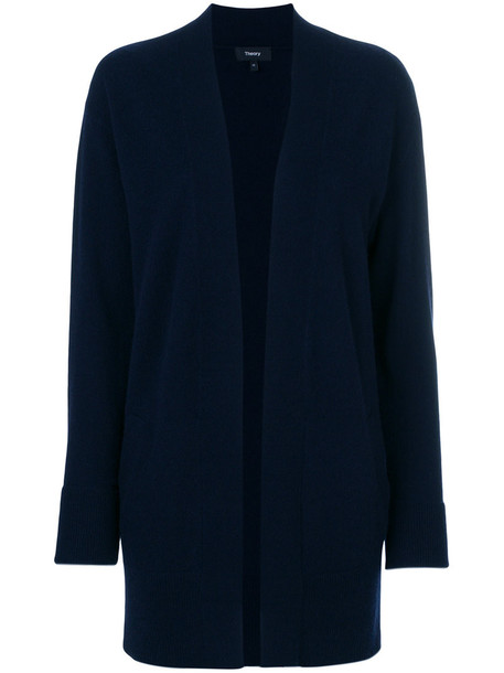 theory cardigan cardigan open women blue sweater