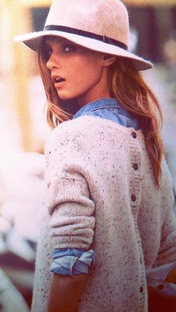 sweater winter sweater shirt blue shirt hat beige hat beige hair accessory accessories winter outfits