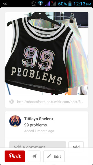 tank top jersey crop tops 99problems swag dope numbers 99 basketballjersey
