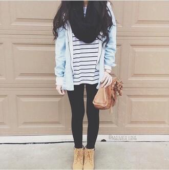 shirt leggings timberlands boots stripes scarf jacket purse bag brown shoulder bag shoes brown lace up heels