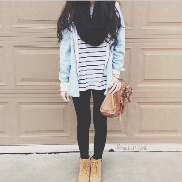 shirt leggings timberlands boots stripes scarf jacket purse bag brown shoulder bag shoes brown lace up heels