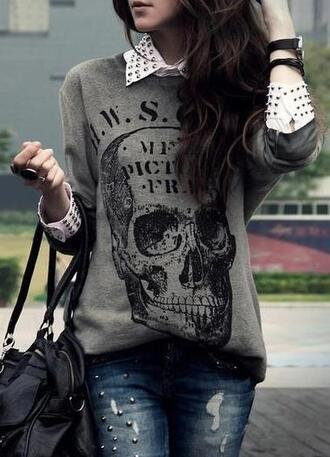 jeans black blouse sweater skull rock black bag lether bag skull sweater oversized sweater ripped jeans white blouse