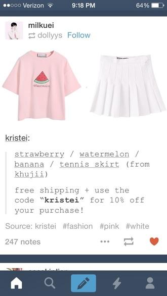 shirt pastel pink skirt watermelon shirt