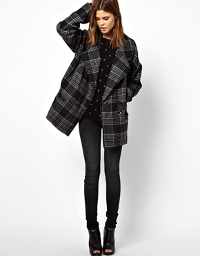 Religion | Religion Checked Oversized Coat at ASOS