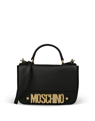 bag black leather moschino gold