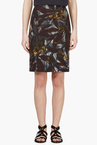 leaf women plum teal print pencils skirt