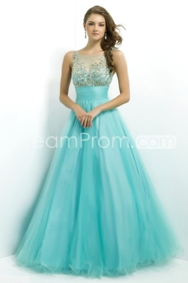 dress sleeveless light blue prom dress prom 2014 sparkly sequins long dress tulle pretty