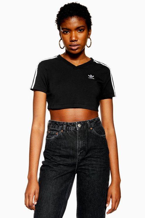 Womens Cropped T-Shirt By Adidas - Black