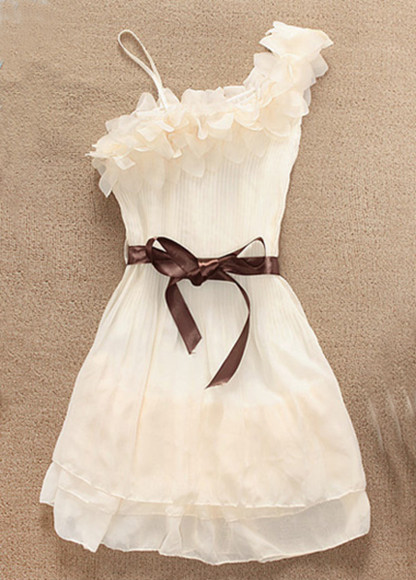 ribbon dress brown white dress
