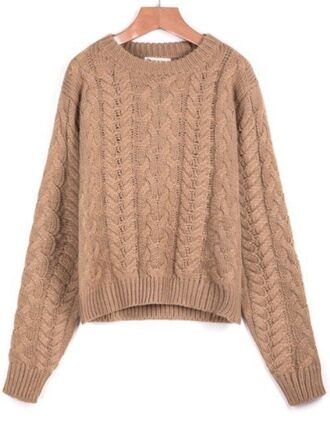 khaki sweater long sleeve sweater cable knit sweater khaki knit sweater cropped sweater www.ustrendy.com