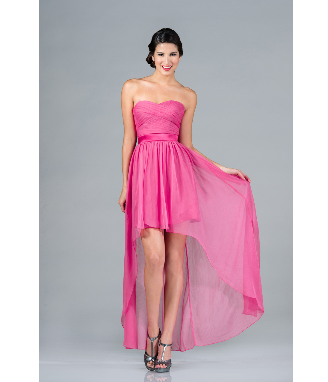 2013 Prom Dresses- Hot Pink Strapless High-Low Chiffon Dress ...