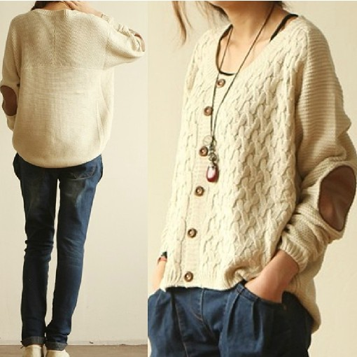 Hot Sale Loose Leather Elbow Patch Cardigan on Luulla