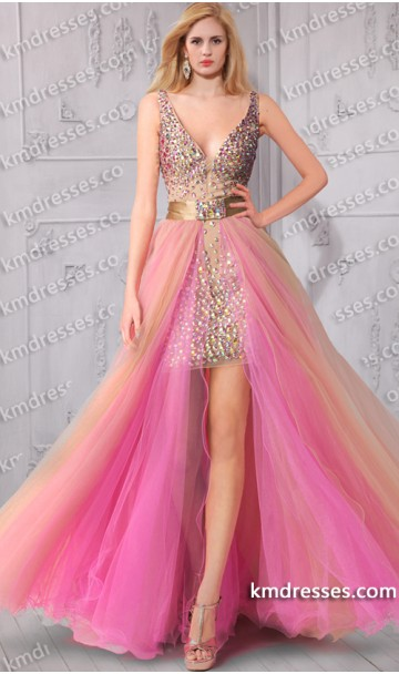 Aurora Inspired Amazing Dazzling Beaded Tulle Overlay  high low evening Dress