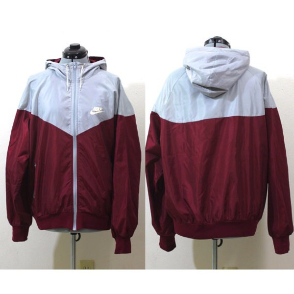 Vintage Retro Nike Maroon And Grey Windbreaker Track