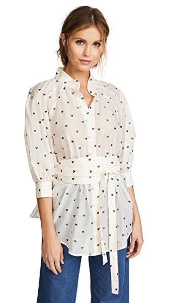 Zimmermann shirt heart cream charcoal top