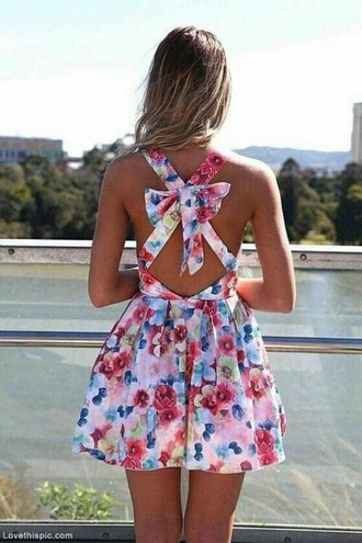 dress floral dress bow back dress