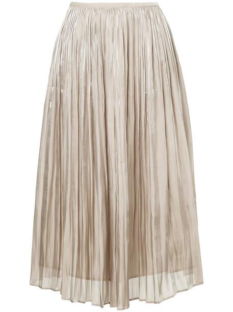 Estnation skirt midi skirt pleated women midi grey metallic