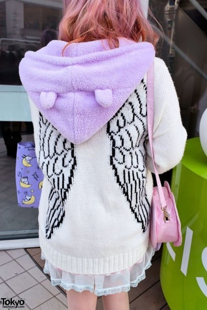 sweater wings kawaii harajuku white black long sleeves jacket purple bunny ears cute japanese fashion hoodie