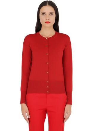 cardigan knit wool red sweater