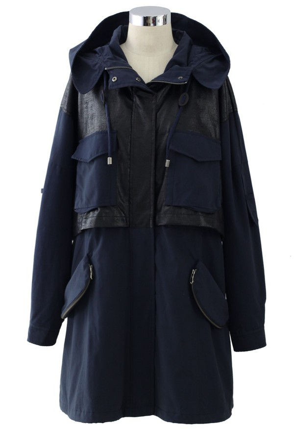 chicwish two tone faux leather hooded coat navy