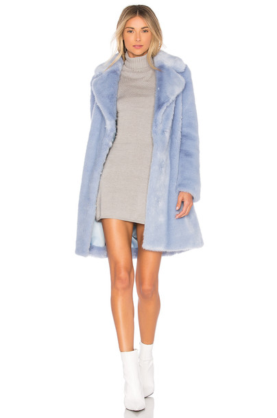 Lovers + Friends coat faux fur coat fur coat fur faux fur blue