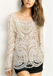 blouse,sixkisses,lace,spring,sweet