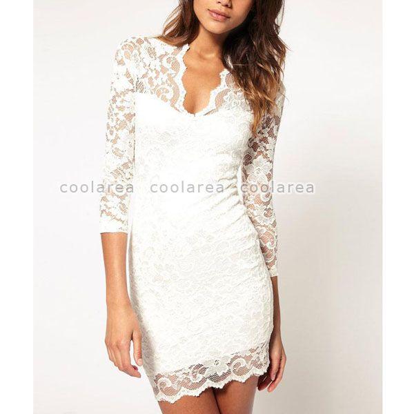 Women Sexy Lace Sheer V Neck 3 4 Sleeve Slim Party Mini Dress OL Casual Clubwear   eBay