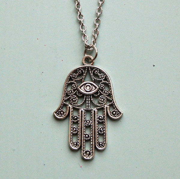 jewels hindoeisme' eye chain hand silver hindu necklace figures jewelry hipster jewelry hipster