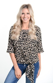 blouse,animal print,tie-front top