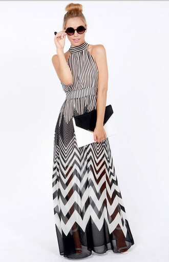black and white black and white dress black and white maxi dress maxi dress maxi dress black black dress chevron pattern patterned dress black and white pattern black and white patterns geometric geometric geometric print dress chevron dresses