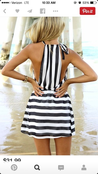 dress black and white striped dress summer dress