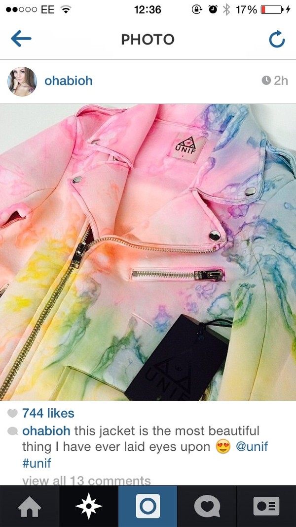 jacket rainbow tie die beautiful