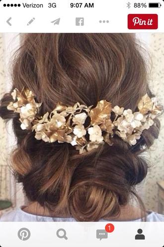 hair accessory gold hair headband white flowers leaves greek beautiful pretty prom love hipster wedding