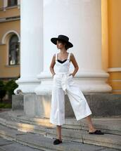 hat,jumpsuit,overalls,white,black hat,shoes