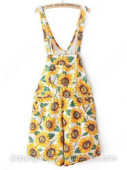 yellow romper overalls short overalls overall romper sunflower sunflowers sunflower print sunflower print overalls