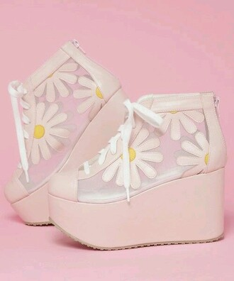 shoes floral white daisy